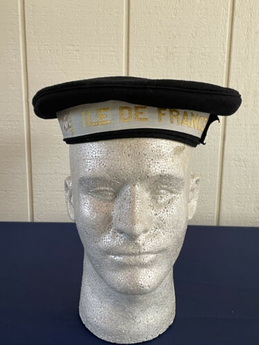 French WWII WW2 le De France Naval Cap with Labeled Ribbon