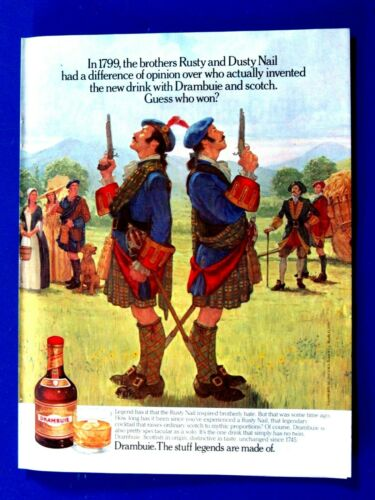 "Dusty & Rusty Nail Duel Drambuie 1990 Original Print Ad 8.5 x 11"""
