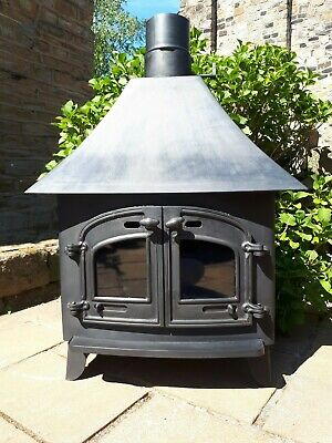 Large Double Door Wood Burning Stove Cast Iron MultiFuel Wood Burner Back Boiler