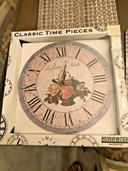 NIB Mirrotek Classic Time Pieces Shabby Chic French Floral Basket Wall Clock