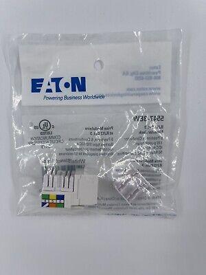 Eaton White Cat3 Snap-In Modular Voice Jack 110 Style 6-Position RJ12 5547-3EW