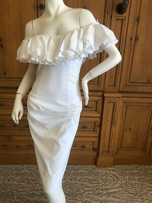 Vivienne Westwood Vintage White Cotton Ruffled Off the Shoulder Dress