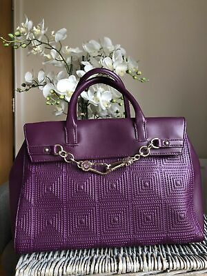 Genuine Versace jeans purple faux leather handbag