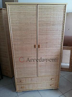 armadio 2 ante e 2 cassetti in vimini rattan bamboo stile etnico mobile armadi