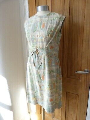 True Vintage 1960's silk day dress, cocktail, Cresta couture , indian scenes