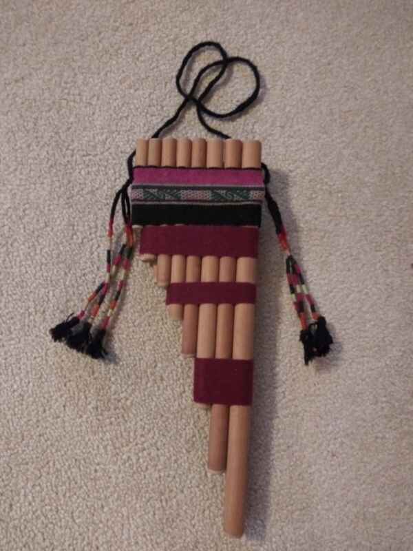 South American Pan Pipes Flute W Handwoven Textiles 15 Pipes