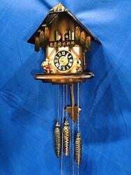 3 Weights Germany Cuckoo Clock Swiss Musical  Movement,pendulum,doll,bir