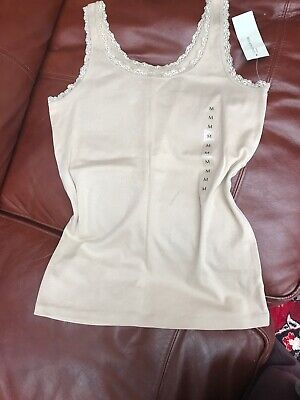 """NEW with tags """"Jones New York"""" - womens' beige cotton tank top/vest with lace"""