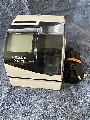 Used Amano Pix-75 Wall Mount Time Clock Punch Employee Timecard Recorder No Key
