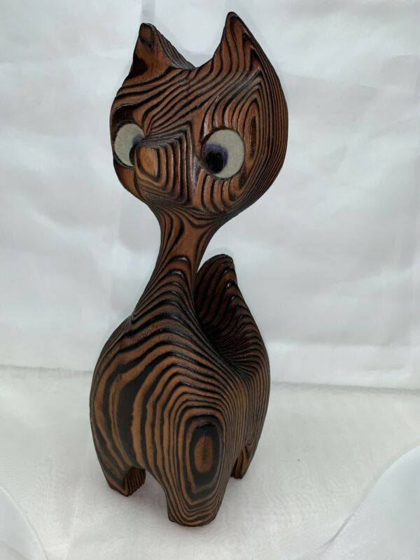 Vintage Hand Carved Cat Figure Mid Century Lines Deep Wood Grain Fired
