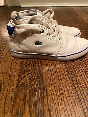 Boys High Top Lacoste White Leather Sneakers Size 2 Barely Worn $100