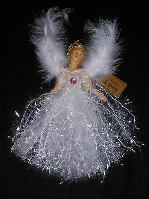 October Rose Quartz Angel Christmas Birthstone Tree Ornament w/ Winged Feathers](Angel Christmas Tree)
