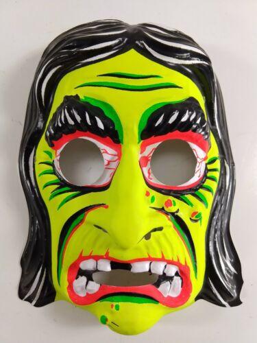 Ben Cooper Green Witch Halloween Mask Vtg Neon