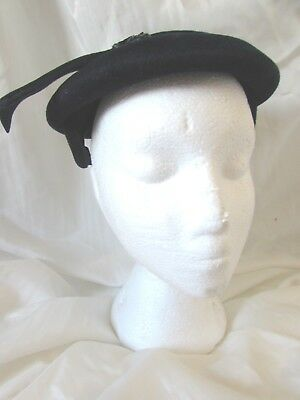 Vintage Noreen Fashion Navy Blue Velvet and Sequin Hat Opera Brand Made in Italy