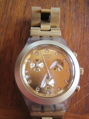 SWATCH IRONY  CHRONOGRAPH DIAPHANE GOLD UNISEX DATE WATCH
