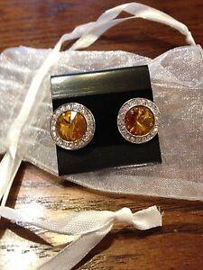 *NEW* Navy Blue Crystal & Citrine Crystal Earrings London Ontario image 2
