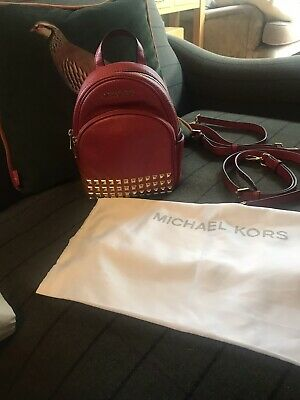 Michael Kors Women's Studded Mini  Backpack  Red