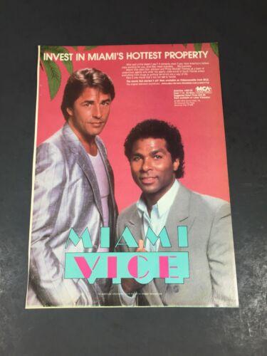 Vintage 1986 Print AD MCA Video poster Advertisment MIAMI VICE Crockett & Tubbs
