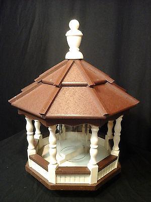 Vinyl Bird Feeder Amish Spindle Homemade Handmade Handcrafted Ivory & Brown
