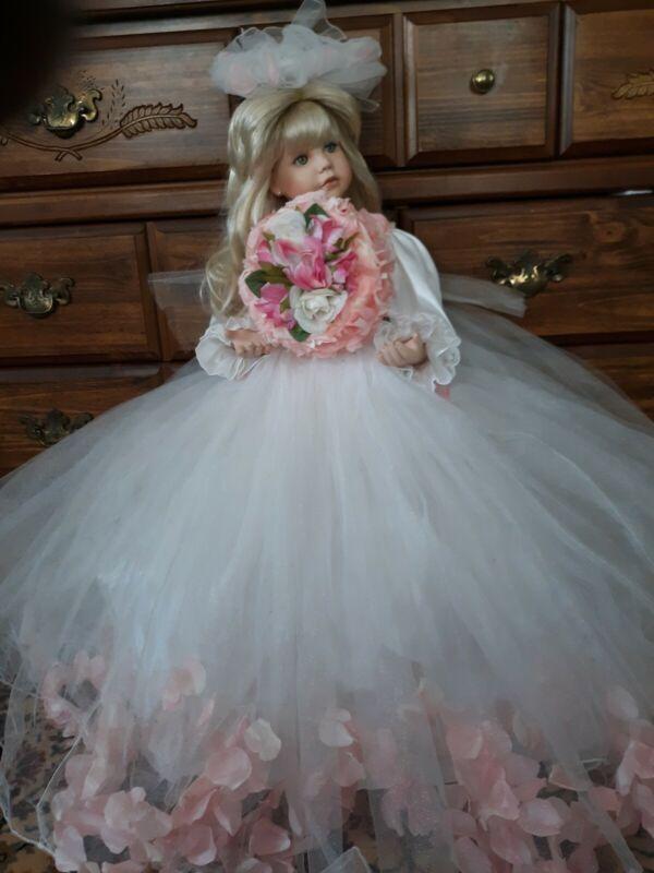 "Vintage Porcelain Doll By Thelma Resch 27""  Bride Designers Guild Exclusive 2003"