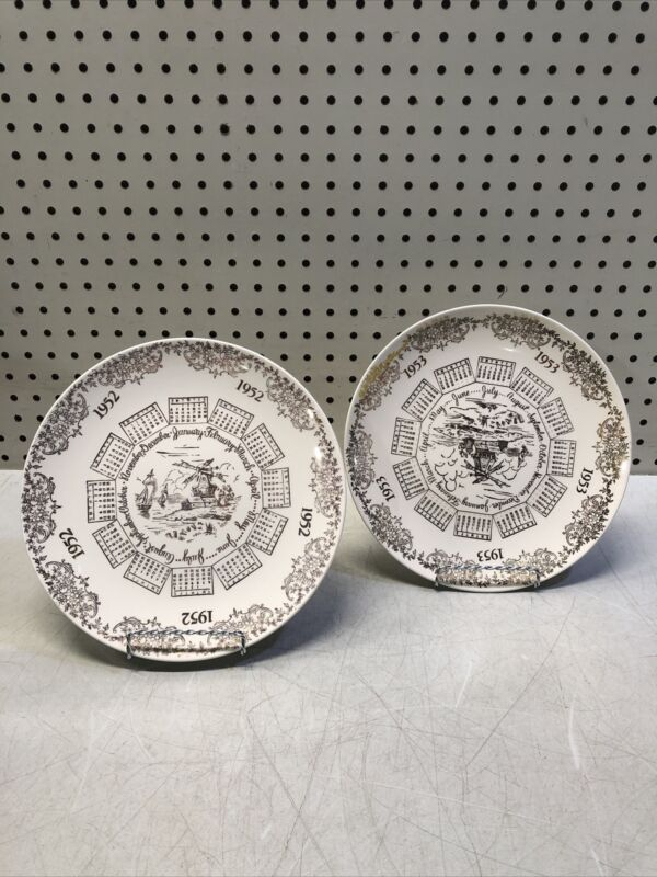 1953 & 1952 Calendar Plates Gold Windmill VINTAGE SET OF 2 COLLECTIBLES