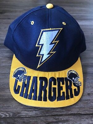 dac49f0c SAN DIEGO CHARGERS DADA HAT VINTAGE NFL BLUE YELLOW 90s OLD BOLT SNAPBACK  CAP