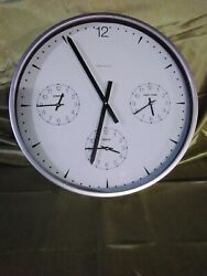 Arhaus Furniture Wall Clock Multi Time Zone Large Metal Glass 19 inch across