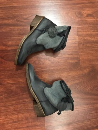 Coolway Noa Blue Ankle Boots Size 6 Leather And Textile