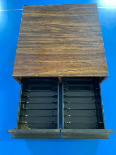 Vintage Faux Wood Cassette Tape Holder Drawer Storage Box Case 2 Drawers