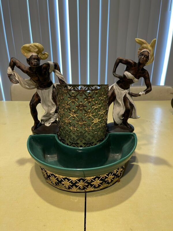Rare Sierra Columbia Carnival Dancers 1950's TV Lamp/Planter Ceramic And Brass