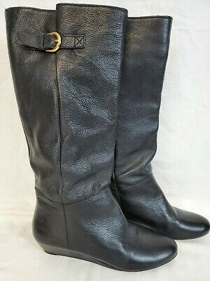 Steve Madden Intyce Pull-On Boots Size 9 M Black Pebbled Leather Womens Wedge J1