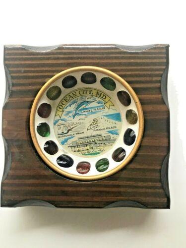 OCEAN CITY MD Maryland Vintage Ceramic Dresser DISH ASHTRY with WOOD BASE