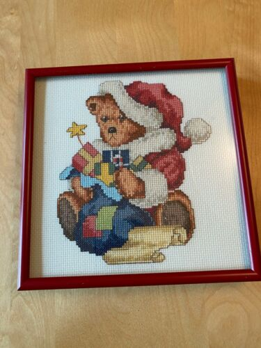 "CHRISTMAS FRAMED COUNTED CROSS STITCH TEDDY BEAR PICTURE 7.75"" x  7.75"""