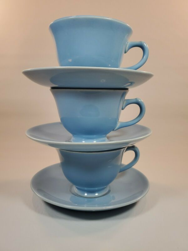 Set of 3 Taylor Smith & Taylor LuRay Pastel Blue Coffee Cup And Saucer