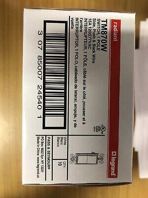 10 Pack - Pass Seymour Tm870-w 1-pole Switch 15a 120277v White