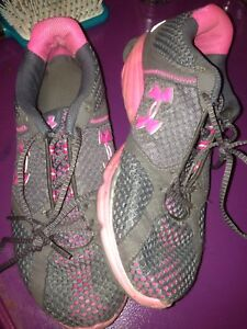 Grey and Pink Under Armour Shoes