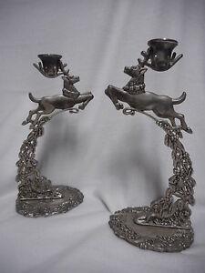 Vintage Godinger Silver Plate Christmas Reindeer Candle Holder Stick