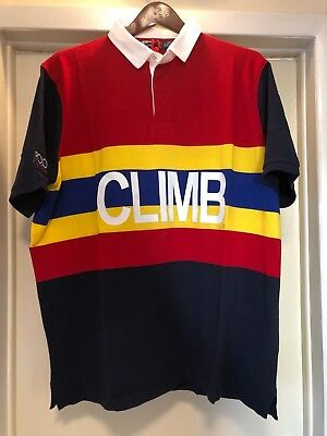 XXL POLO RALPH LAUREN HI TECH CLIMB RUGBY RED YELLOW ROYAL BLUE NAVY POLO SHIRT