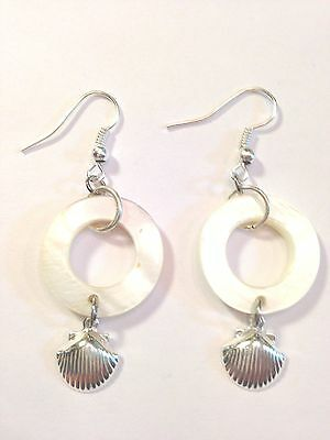 SILVERPLATE DROP MOTHER OF PEARL CIRCLE & CLAM SHELL  EARRINGS BEADS-FREE SHIP Circle Mother Of Pearl Earrings