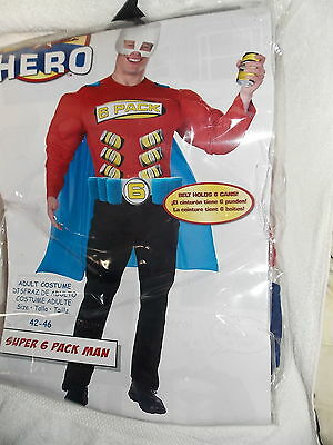 Adult Zero to Hero Super 6 Pack Man Costume Size Extra Large 42-46  - Packman Costume