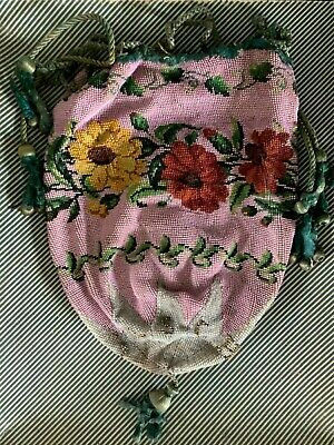 FINE ANTIQUE GLASS BEAD WORK EMBROIDERY DRAWSTRING BAG / PURSE