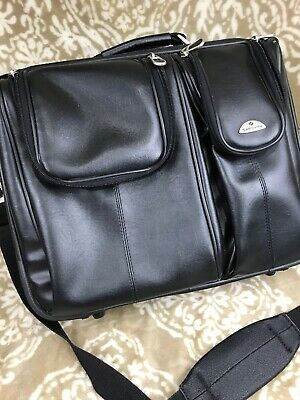 Samsonite Black Leather Expandable Briefcase CarryOn Suitcase Shoulder Strap