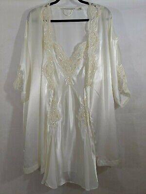 Chemise Robe Set Sequin Lace White Pearls Bridal Wedding Honeymoon Sexy Retro VS