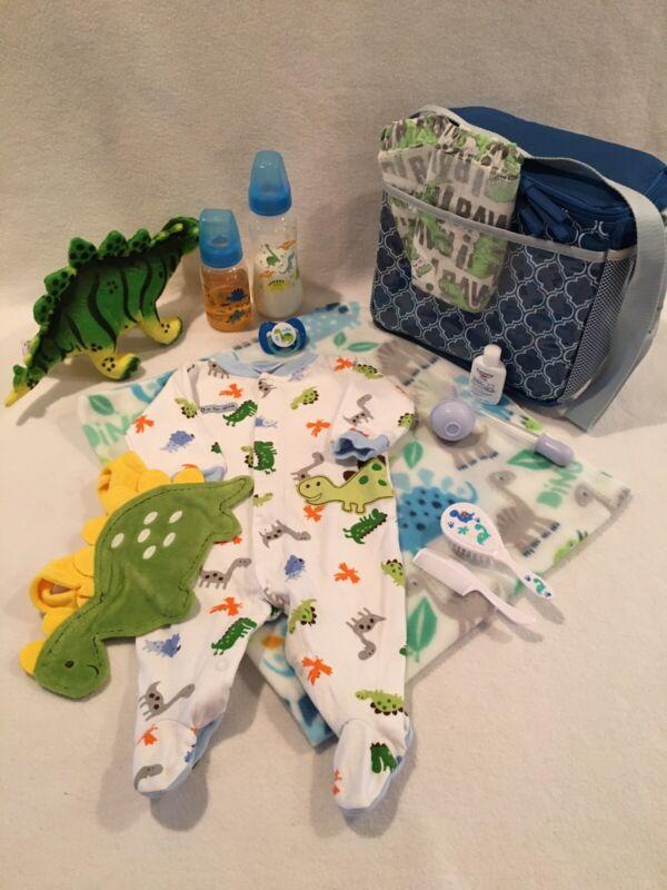 Reborn Baby Doll Dinosaur Diaper Bag W/ Accs,Bottles, Pacifier