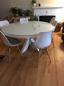 Round dining room table.  Solid wood.