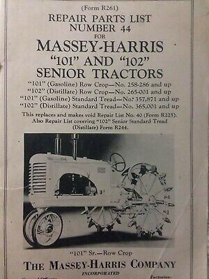 Massey-harris 101 102 Senior Agricultural Farm Tractor Parts List Catalog Manual