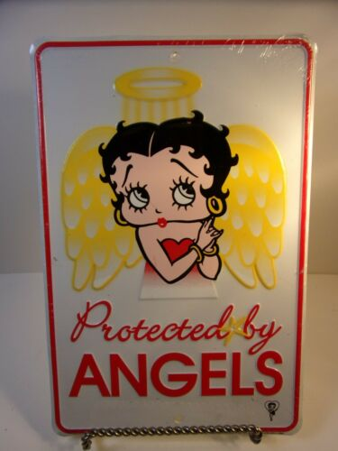 BETTY BOOP TIN METAL SIGN PROTECTED BY ANGELS 2004 SIGN IN ORIGINAL PLASTIC WRAP