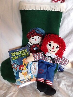 "NEW Raggedy Ann & Andy Video 12"" Applause Andy Plush Doll Christmas Stocking lot"