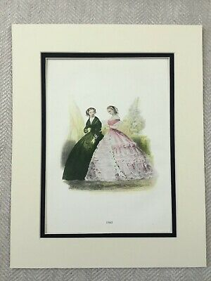 Antik Aufdruck Elegant Viktorianisch Damen Mädchen 1800s Zeit Kostüm (Elegante Dame Mädchen Kostüm)