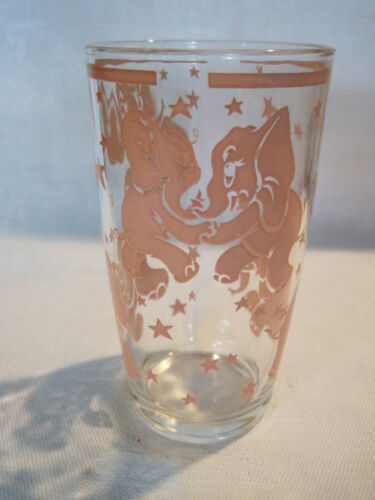 Vintage Hazel Atlas Pink Elephants Highball tumbler glass bar ware
